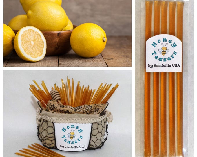 5 Pack LEMON HONEY TEASERS Natural Honey Snack Sticks Honeystix Straws