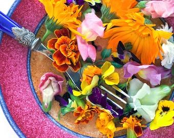 EDIBLE FLOWER MIX Seeds - 16 Types: Marigold Daisy Viola Safflower Alyssum Hyssop Hollyhock Cornflower Sweet William Nasturtium Basil + More