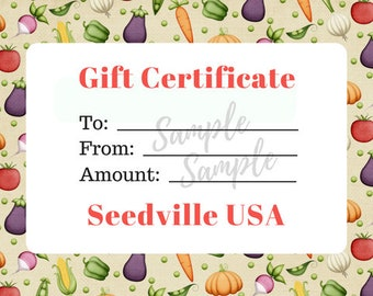 Seedville USA Gift Certificate - Veggie Lovers Design - By Email or Postal Mail - You Choose Amount
