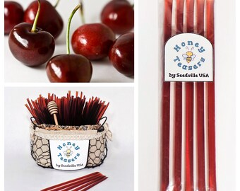5 Pack CHERRY HONEY TEASERS Natural Honey Snack Sticks Honeystix Straws