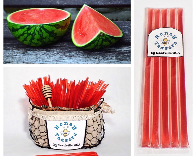 5 Pack WATERMELON HONEY TEASERS Natural Honey Snack Sticks Honeystix Straws