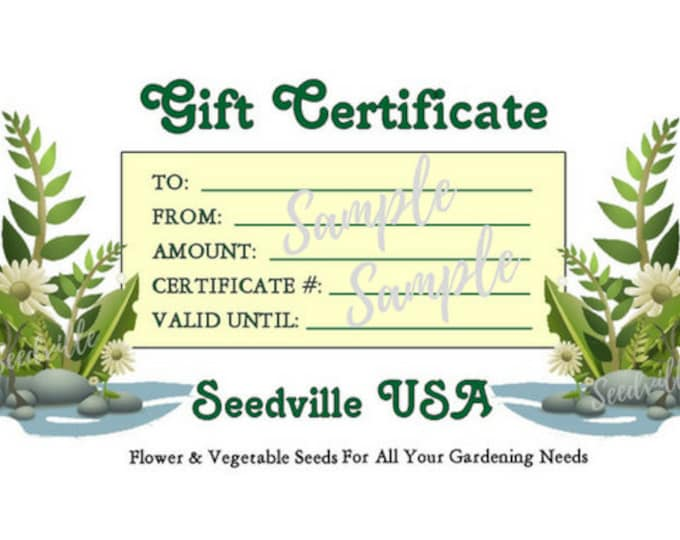 Seedville USA Gift Certificate - Ferns Rock Design - By Email or Postal Mail - You Choose Amount