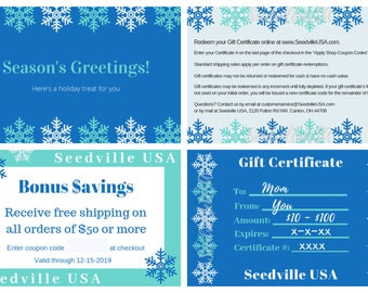 Seedville USA Gift Certificate - Season's Greetings Hanukkah or Christmas Design - By Email or Postal Mail - You Choose Amount