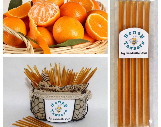 5 Pack ORANGE HONEY TEASERS Natural Honey Snack Sticks Honeystix Straws