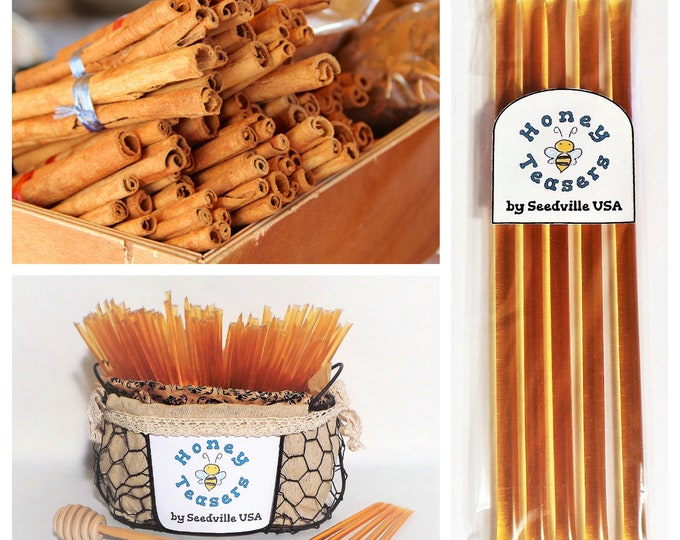 5 Pack CINNAMON HONEY TEASERS Natural Honey Snack Sticks Honeystix Straws