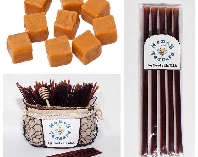 5 Pack CARAMEL HONEY TEASERS Natural Honey Snack Sticks Honeystix Straws
