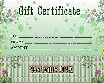 Seedville USA Gift Certificate - Garden Gate Design - By Email or Postal Mail - You Choose Amount