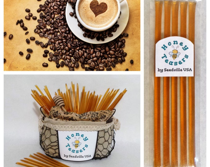 5 Pack COFFEE Blossom HONEY TEASERS Natural Honey Snack Sticks Honeystix Straws