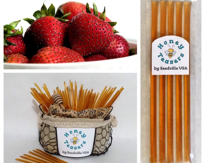 5 Pack STRAWBERRY HONEY TEASERS Natural Honey Snack Sticks Honeystix Straws