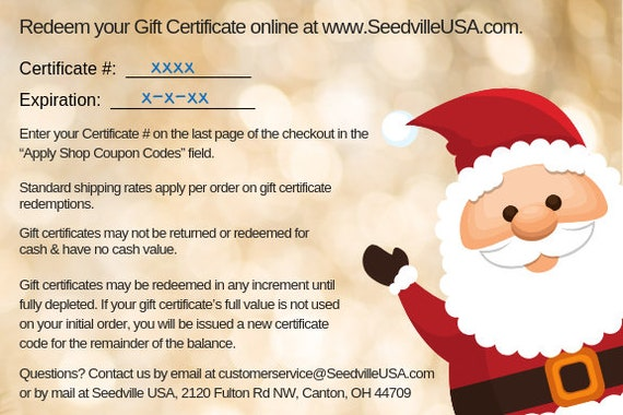 a25761f2178cb Seedville USA Shop Gift Certificate - Christmas Design - By Email or Postal  Mail - You Choose Amount