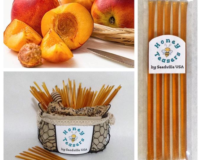 5 Pack PEACH HONEY TEASERS Natural Honey Snack Sticks Honeystix Straws