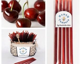5 Pack CHERRY HONEY TEASERS Natural Honey Snack Sticks Honeystix Straws