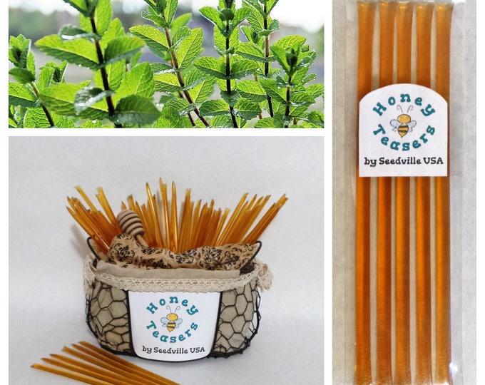 5 Pack MINT HONEY TEASERS Natural Honey Snack Sticks Honeystix Straws