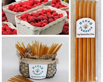 5 Pack RASPBERRY HONEY TEASERS Natural Honey Snack Sticks Honeystix Straws