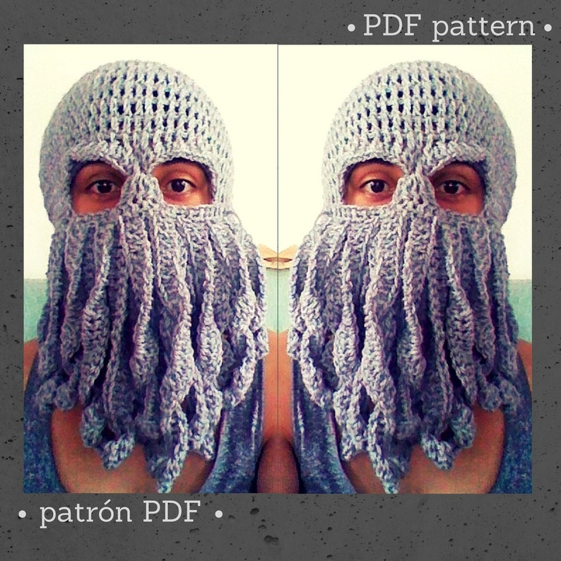 fe3ac6d8723016 CROCHET PATTERN Cthulhu octopus squid mask hat beret beanie
