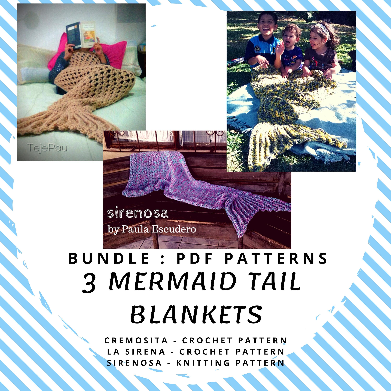 d162f877daa893 Mermaid tail blanket 3 patterns bundle Crochet Knit