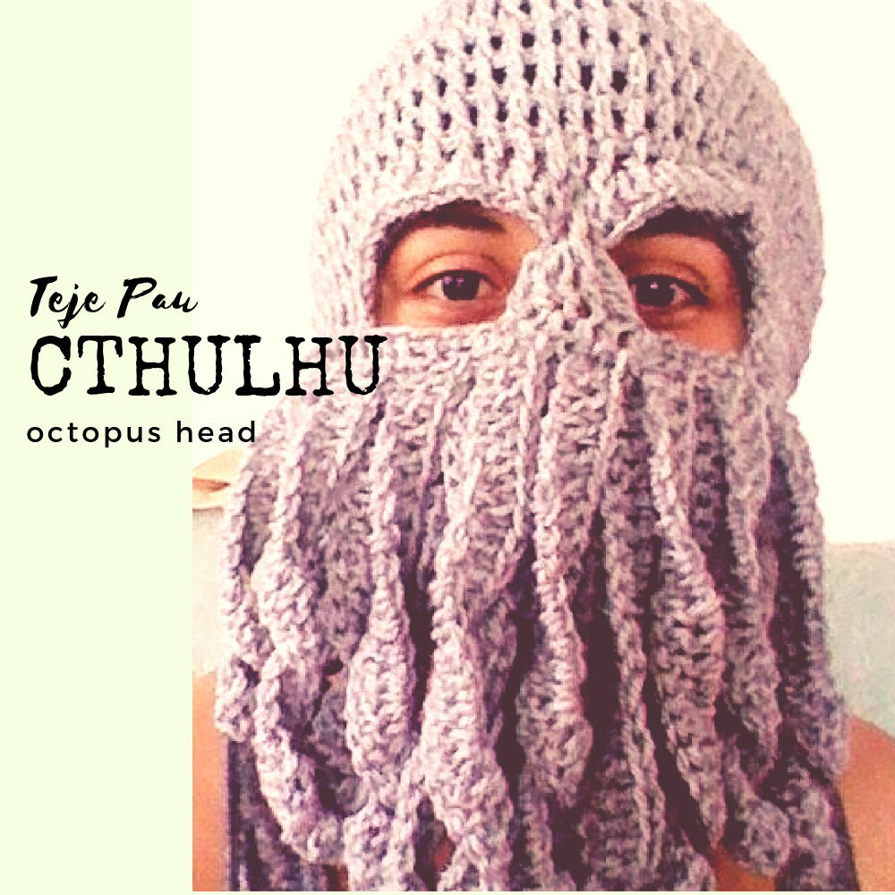 Crochet Pattern Cthulhu Octopus Squid Mask Hat Beret Beanie Etsy