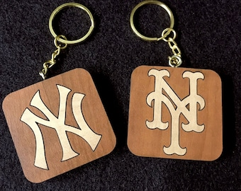 Beautiful Wood Inlay New York Yankees and New York Mets Keychains with Free Engraving and Free Shipping