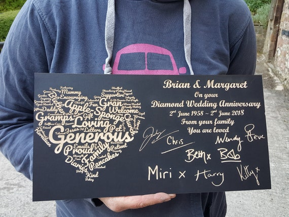 Personalised Diamond Slate Plaque with Hearts Laser Engraved Mothers Day Gift