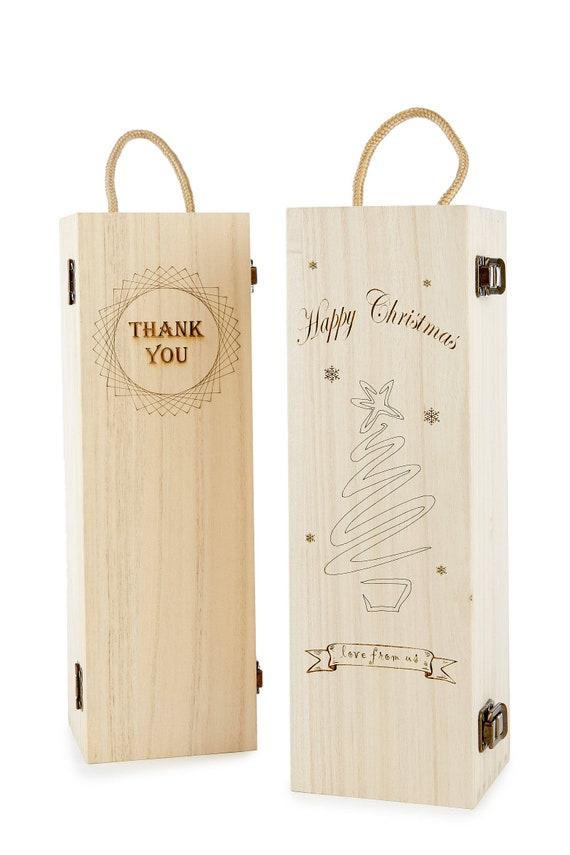 Bouteille Boîte gravé Boîte Cadeau Merci Cadeau Personnalisé bouteille Box Coffret Vin