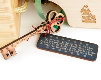 Traditional Santa's Magic Key - Cedar Wood Perfect for Your Family's Christmas Tradition / No Chimney / Children's Christmas Eve Activity