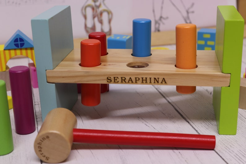 Personalised Hammer And Peg Toy Wood Hammer Bench Hammer Toy Wood Childrens Toy Personalised Toy Engraved Wooden Childs Toy Wood Toy