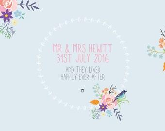 Wedding Personalised Floral  Print