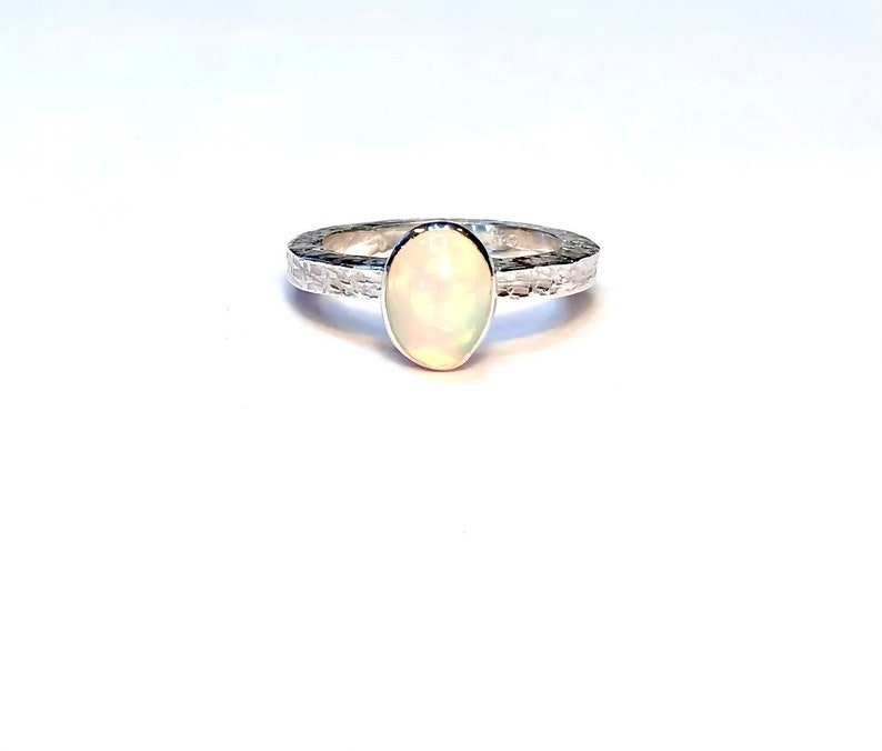 Solitaire Ring Graduation Ring Girlfriend Gift Sterling Silver Textured Opal Ring Ethiopian Opal Ring Square Ring Band