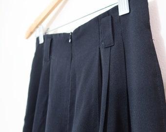 Vintage 80s Petite Black Wide leg High waisted Pants Au size 6