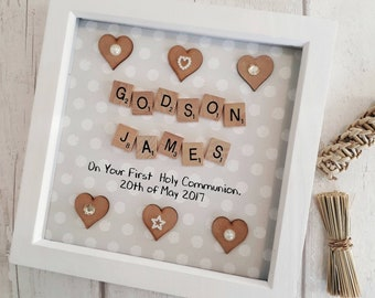 Holy Communion Frame Naming Ceremony Christening Gift For Godson Goddaughter Day Present Godchild