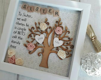 Gift For Sister Family Tree Frame Personalised Scrabble Art Shadow Box Birthday Present