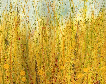 Summers coming no 1, bright cheery painting of sunshine on the wildflower meadow