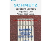 Schmetz Leather Needles Fits Singer Sewing Machines Models 15, 27, 28, 66, 99, 201, 206, 221, 222, 301, 306, 319, 401, 403, 404, 500, 503