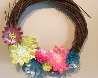 Mini Twig Wreath with paper flowers