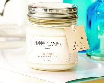 Free Spirit | Beachwood & Vetiver | Soy Candle Happy Camper Candle | Handmade Candle | Natural Candle | Boho Decor | Minimalist