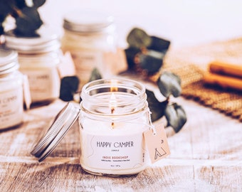 Indie Bookshop | Vanilla & Oud Wood | Candles | Aromatherapy | Home Decor | Handmade | Natural | Happy Camper Candle