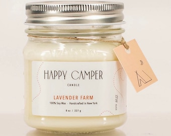 Lavender Farm | Soy Candle | Handmade Candle| Natural Candle | Gift Idea | Boho Decor | Minimalist | Happy Camper Candle