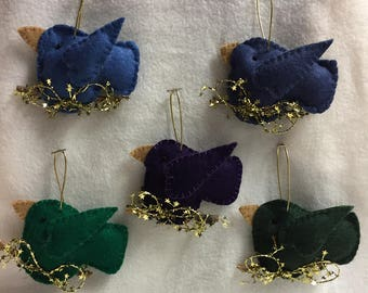 Felt Bird Ornaments - Choice (#001 - #005)