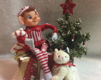 Elf and Kitty with Decorated Snowy Christmas Tree Display (#048)