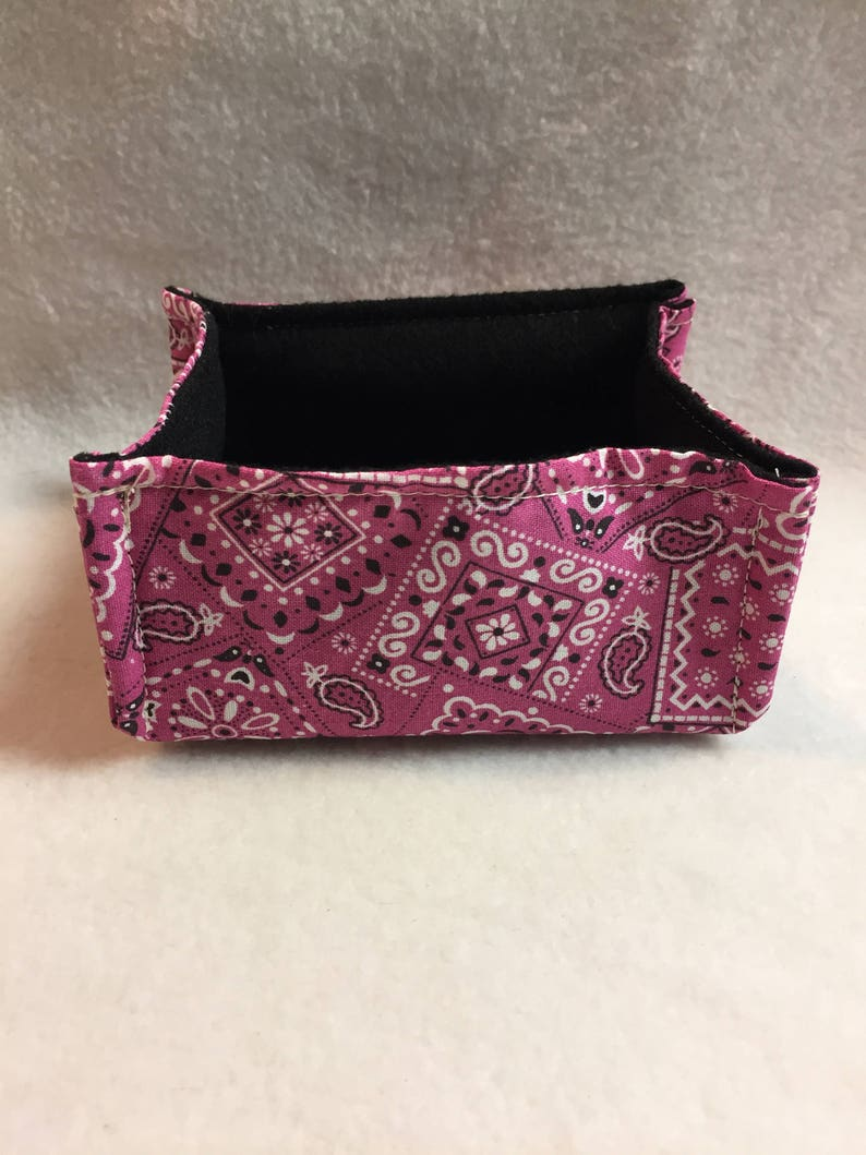 #B035 Fabric Basket - Pink Country Bandana for Candy, Gifts, Trinkets, Jewelry and More