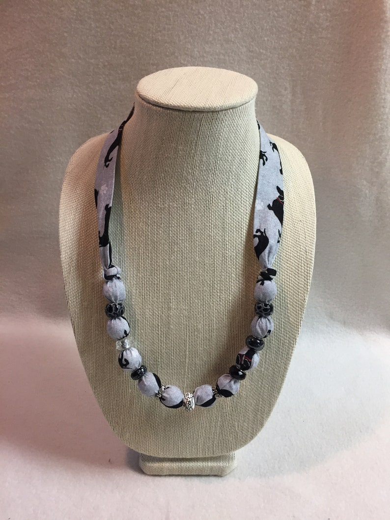 Fabric Beaded Necklace Dachshunds #NL002.009