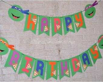 Ninja Turtles Happy Birthday Banner / Ninja Turtles Birthday Party