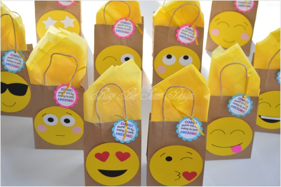Emoji Favor Bags Birthday Party Goody