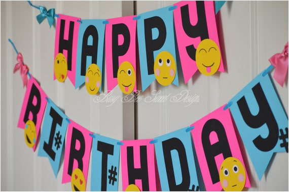 Emoji Happy Birthday Banner Party Time