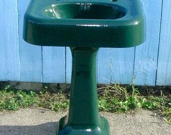 1928 Kohler Timberline Green Cast Iron Bathroom Pedestal Sink Emerald Green  Professionally Refinished Like New Vintage Original