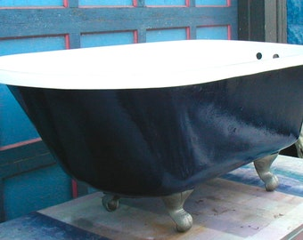 1932 Claw Foot Cast Iron Bath Tub Professionally Refinished Blue Hammered  Metal Outside Bright White Brushed Nickel Feet