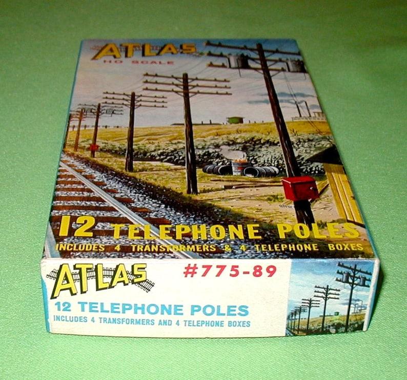 Atlas HO scale model train railroad telephone poles original box Lionel