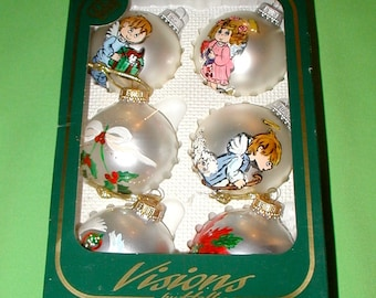 Vintage Glass Christmass Ornaments by Visions clear and frosted angels round globe holiday tree decoration in original box