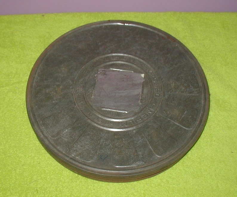 Metal movie film reel storage case motion picture projection vintage original piece
