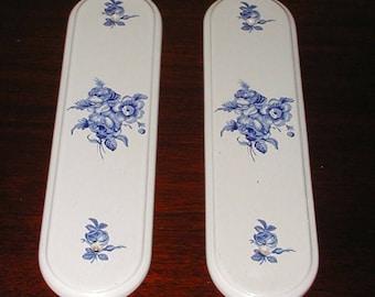 Ceramic door push plates blue victorian roses vintage art deco butlers door & Vintage Door Push Plate/ French Vintage Porcelain Door Push